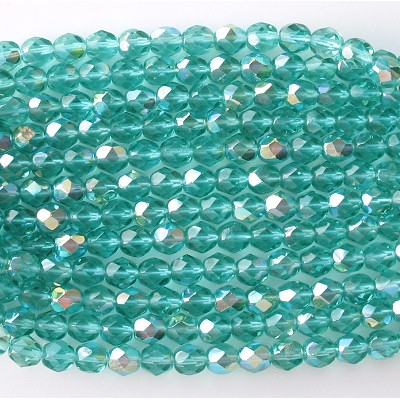 6mm Light Teal AB Faceted Round Beads [50]