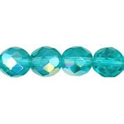 8mm Medium Teal AB Faceted Round Beads [50]