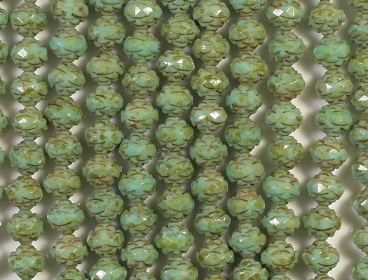 7x8mm Turquoise Picasso Faceted Rosebud Beads [25]
