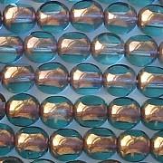 6mm Light Aqua/Bronze Luster 3-Cut Round Beads [50]
