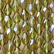 7mm Olive Celsian Faceted Teardrop Beads [25]