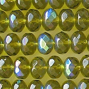 6x9mm Olive AB Faceted Rondel Beads [25]