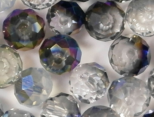 5x8mm Mixed Clear/Gray/Blue Faceted Rondelle Beads [50]