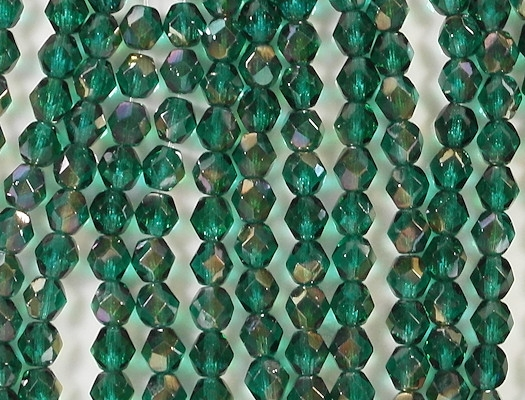 6mm Viridian Green Celsian Faceted Round Beads [50]