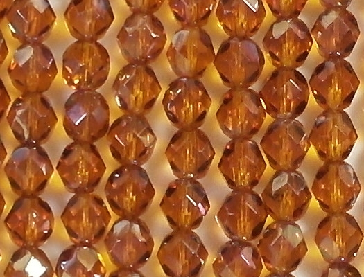 6mm Topaz Celsian Faceted Round Beads [50]
