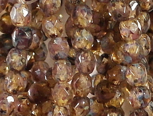 4mm Clear/Purple Picasso Faceted Round Beads [50]