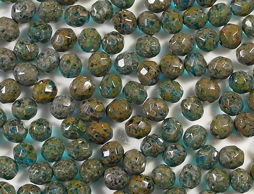 8mm Aqua Picasso Faceted Round Beads [25]