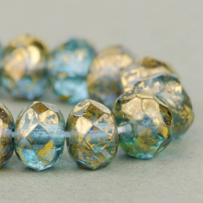 3x5mm Light Aqua Gold Faceted Rondelle Beads [50]