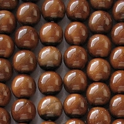 8mm Brown Marble Coated Round Beads [50]