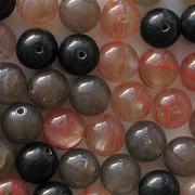 8mm Red/Gray/Black Mixed Round Beads [50]