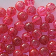 6mm Pink Mottled Round Beads [50]