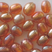 9mm Topaz/Gold Luster Oval Beads [50]