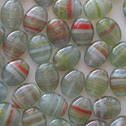 9mm Green Striped Flat Oval Beads [50]
