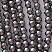 4mm Hematite-Colored Round Glass Pearls [118+]