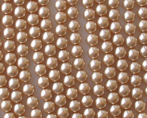 6mm Light Caramel Round Glass Pearls [50]