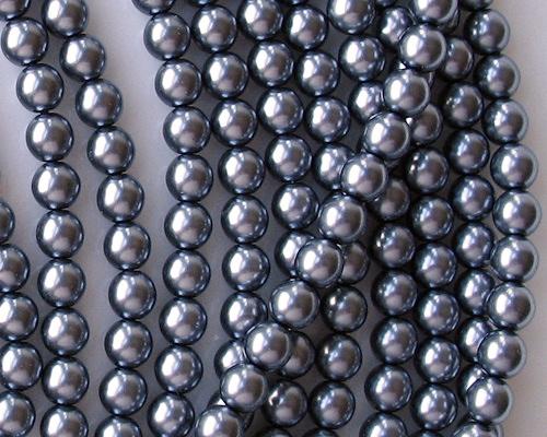 6mm Hematite-Colored Round Glass Pearls [50]