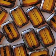 12mm Topaz Picasso Polished Rectangle Beads [20]