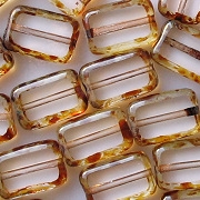 12mm Clear Picasso Polished Rectangle Beads [20]