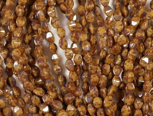 5mm Mottled Brown Pinched Oval Beads [100]