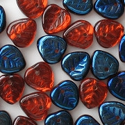 9mm Orange/Dark Blue Iris Leaf Beads [50]