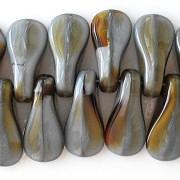 18mm Gray/Topaz Duck Bill Beads [20]
