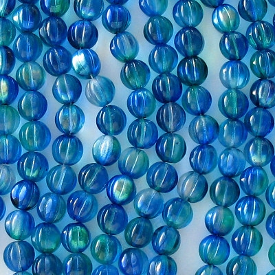 8mm Blue/Green AB Fluted Beads [25] (see Comments)
