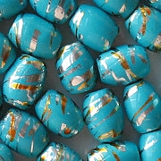 11mm Turquoise Striped Barrel Beads [25]