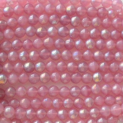 6mm Milky Pink AB Round Beads [50]