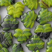 11x13mm Lime Striped Maple Leaf Beads [15] (see Comments)