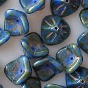 8x12mm Blue/Green Picasso 3-Petal Flower Beads [10]