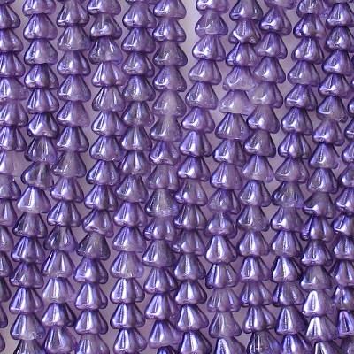 5x6mm Purple Coated Bell Flower Beads [50]