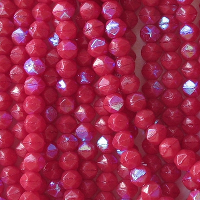 """6mm Opaque Red AB """"English Cut"""" Beads [50]"""