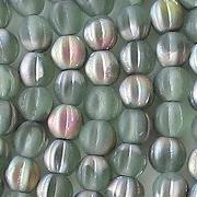 5mm Bottle Green AB Matte Fluted Beads [100]