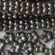 3x7mm Dark Brown Iris Flower Spacer Beads [50]