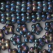3x7mm Dark Blue Iris Flower Spacer Beads [100]