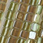 6mm Chrysolite Green Celsian Square Beads [50]