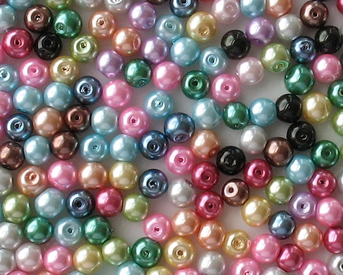 6mm Mixed-Color Chinese Round Glass Pearls [50] (see Defects)