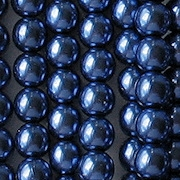 6mm Royal Blue Round Glass Pearls [75] (see Defects)