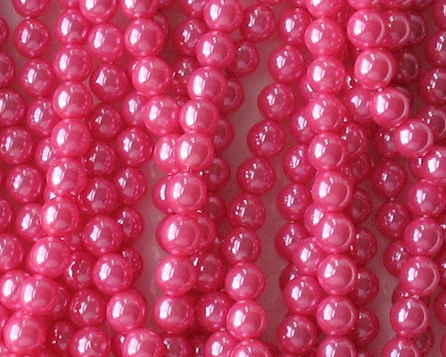 6mm 'Hot Pink' Round Glass Pearls [75] (see Comments)