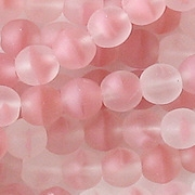 6mm Pink Givre Matte Round Beads [50]