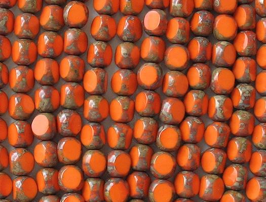 8mm Opaque Orange Picasso 3-Cut Round Beads [25]