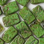 18mm Avocado Green Patterned Rectangle Beads [3]