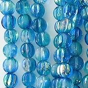 5mm Aqua/Blue AB Fluted Beads [100]
