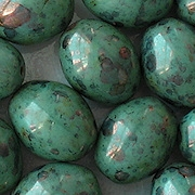 19mm Turquoise Picasso Luster Oval Beads [3]