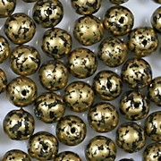 6mm Bronze/Black Mottled Round Beads [50]