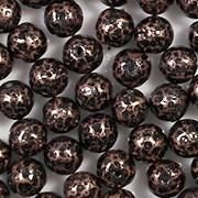 6mm Copper/Black Mottled Round Beads [50]