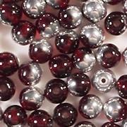 6mm Garnet Red/Silver Round Beads [50]