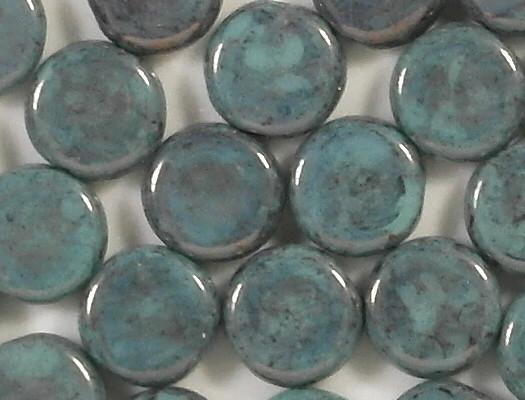 6mm Aqua/Purple/Gold Luster Coin Beads [25]