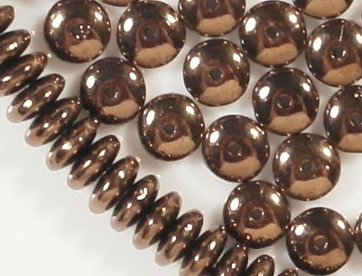 2x6mm Medium-Dark Bronze Rondelle Glass Beads [100]