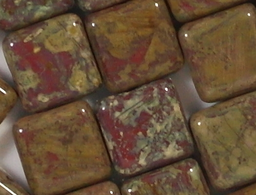 10mm Opaque Red Picasso Square Beads [15]